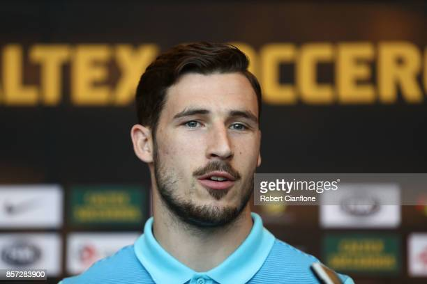 Mathew Leckie of Australia speaks to the meida during an Australia Socceroos media opportunity on October 4 2017 in Malacca Malaysia