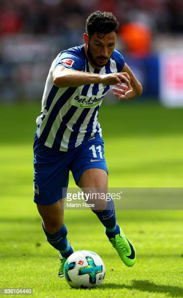 Mathew Leckie of Berlin runs with the ball during the Bundesliga match between Hertha BSC and VfB Stuttgart at Olympiastadion on August 19 2017 in...