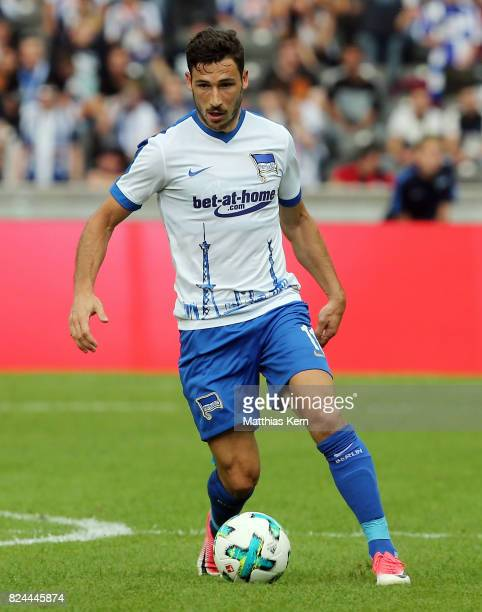 Mathew Leckie of Berlin runs with the ball during the pre season friendly match between Hertha BSC and FC Liverpool at Olympiastadion on July 29 2017...