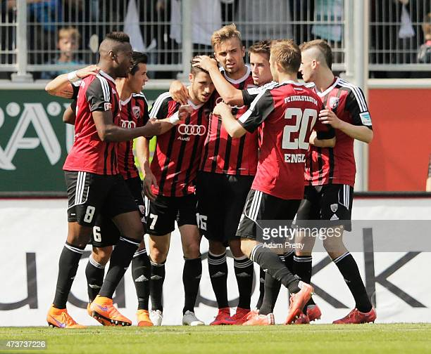 Mathew Leckie of FC Ingolstadt is congratulated after scoring from the penalty spot during the 2 Bundesliga match between FC Ingolstadt and RB...