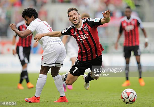 Mathew Leckie of FC Ingolstadt is fouled during the 2 Bundesliga match between FC Ingolstadt and RB Leipzig at Audi Sportpark on May 17 2015 in...