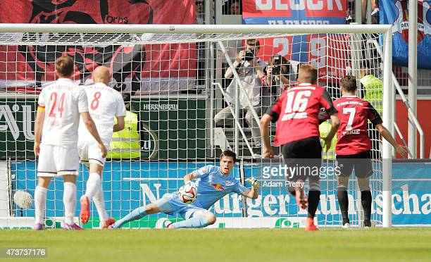 Mathew Leckie of FC Ingolstadt scores rom the penalty spot during the 2 Bundesliga match between FC Ingolstadt and RB Leipzig at Audi Sportpark on...