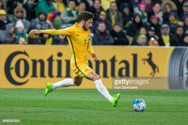 Mathew Leckie of the Australian National Football Team clears the bal during the FIFA World Cup Qualifier Match Between the Australian National...