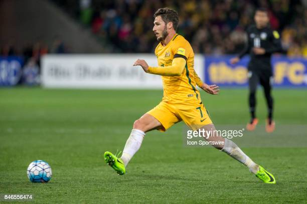 Mathew Leckie of the Australian National Football Team controls the ball during the FIFA World Cup Qualifier Match Between the Australian National...