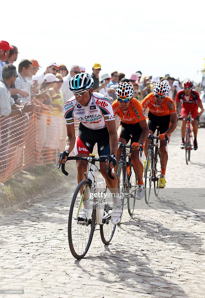 Mathew Lloyd of Australia and Omega PharmaLotto rides over the cobble stones during stage three of the 2010 Tour de France from Wanze to Arenberg...