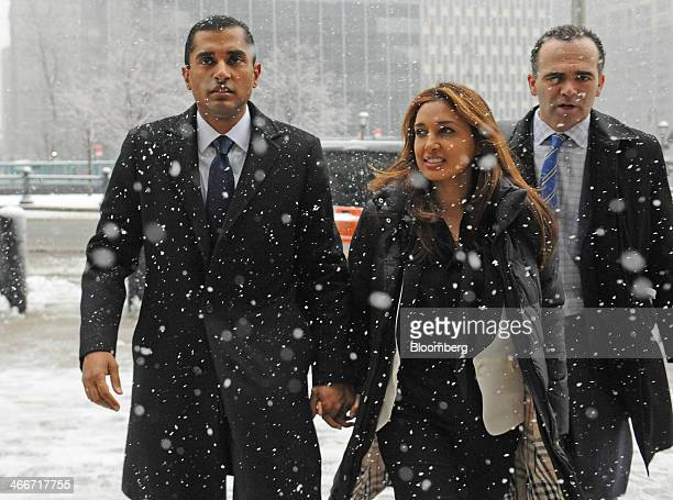 Mathew Martoma a former SAC Capital Advisors LP fund manager left arrives at federal court with his wife Rosemary Martoma center and his attorney...