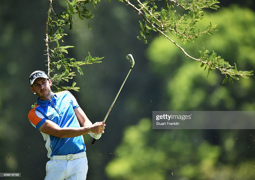 Mathew Nixon of England plays a shot during the first round of the Tshwane Open at Pretoria Country Club on February 11, 2016 in Pretoria, South Africa.