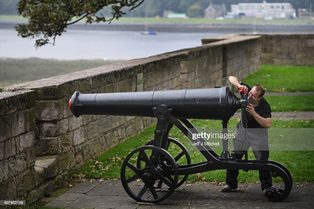Mathew Packer, puts the finish touches to a restored canon captured at Sebastapol in 1856 as its placed onto the town walls on August 23, 2017 in Berwick-upon-Tweed, England.English Heritage's only Russian cannon, made in 1826, returns to Berwick after extensive restorative works. Gifted to the town of Berwick in 1858 as a trophy of the Crimean War, it has since been preserved as a key historical artefact. The recent conservation works will protect the cannon from harsh coastal weather conditions, keeping it preserved for future generations and continuing its long tradition of care.