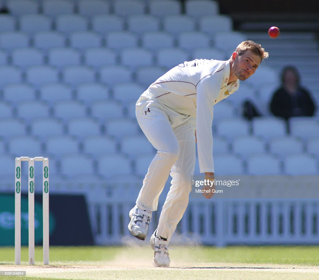 Mathew Pillans of Surrey bowling during the Specsavers County Championship Division One match between Surrey and Durham at the Kia Oval Cricket Ground, on May 04, 2016 in London, England.