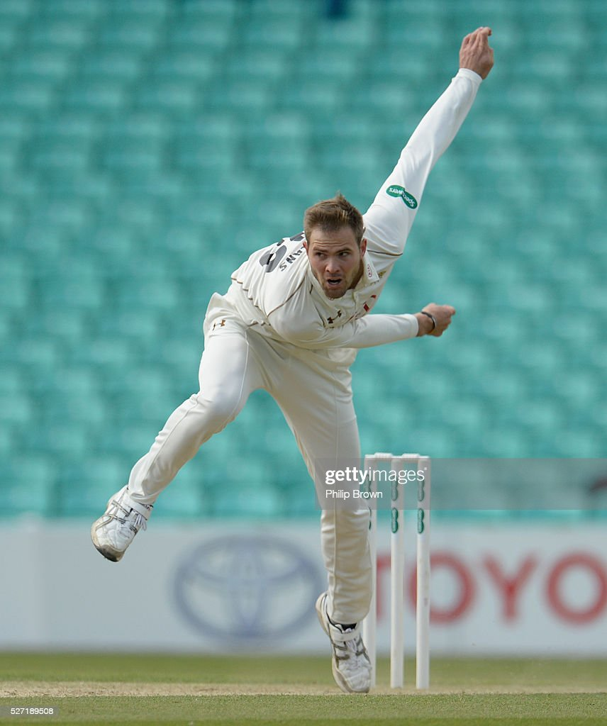 Mathew Pillans of Surrey bowls during day two of the Specsavers County Championship Division One match between Surrey and Durham at the Kia Oval on May 2, 2016 in London, England.