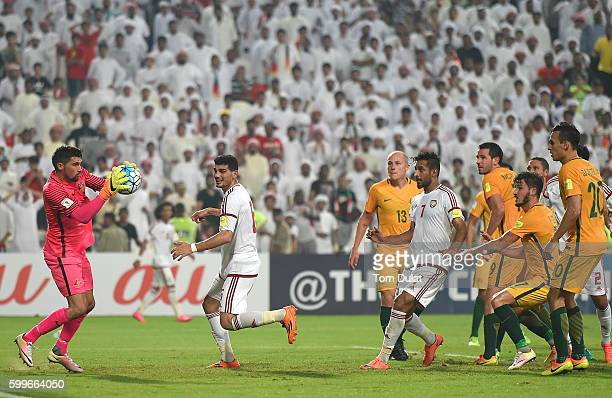 Mathew Ryan of Australia in action during the 2018 FIFA World Cup Qualifier match between UAE and Australia at Mohamed Bin Zayed Stadium on September...