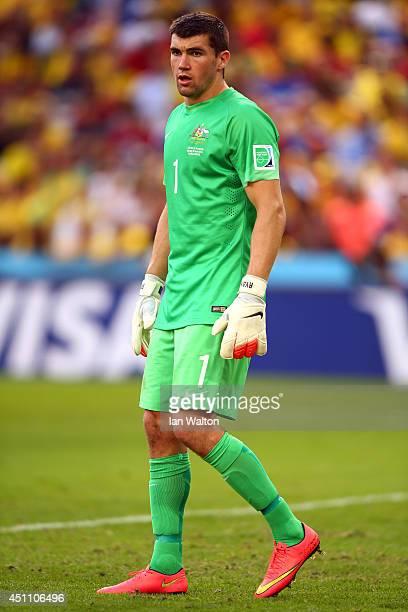 Mathew Ryan of Australia looks on during the 2014 FIFA World Cup Brazil Group B match between Australia and Spain at Arena da Baixada on June 23 2014...