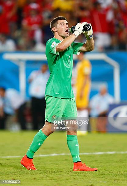 Mathew Ryan of Australia takes a drink during the 2014 FIFA World Cup Brazil Group B match between Chile and Australia at Arena Pantanal on June 13...