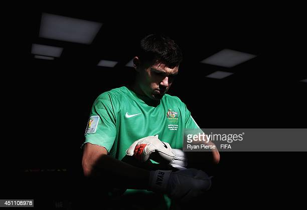 Mathew Ryan of Australia walks in the tunnel on to the pitch prior to the 2014 FIFA World Cup Brazil Group B match between Australia and Spain at...