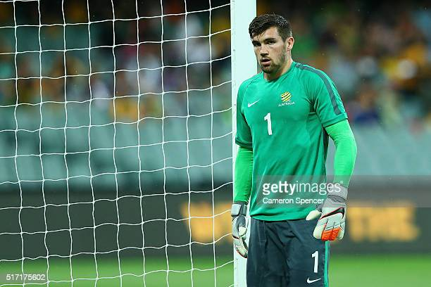 Mathew Ryan of Australia warms up prior to the 2018 FIFA World Cup Qualification match between the Australia Socceroos and Tajikistan at the Adelaide...