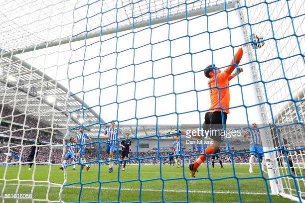 Mathew Ryan of Brighton and Hove Albion saves during the Premier League match between Brighton and Hove Albion and Everton at Amex Stadium on October...