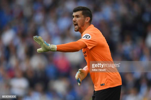 Mathew Ryan of Brighton shouts instructions during the Premier League match between Brighton and Hove Albion and Newcastle United at Amex Stadium on...