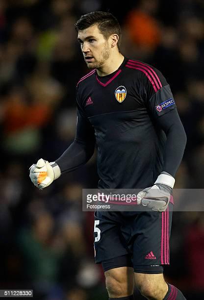 Mathew Ryan of Valencia CF celebrates during the UEFA Europa League round of 32 first leg match between Valencia CF and Rapid Vienna at Estadi de...