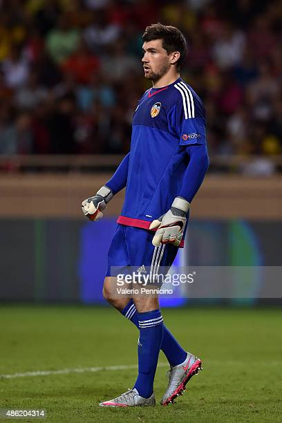 Mathew Ryan of Valencia looks on during the UEFA Champions League qualifying round play off second leg match between Monaco and Valencia on August 25...