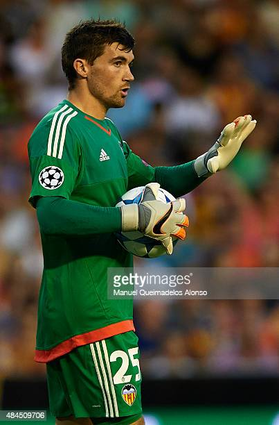 Mathew Ryan of Valencia reacts during the UEFA Champions League Qualifying Round Play Off First Leg match between Valencia CF and AS Monaco at...