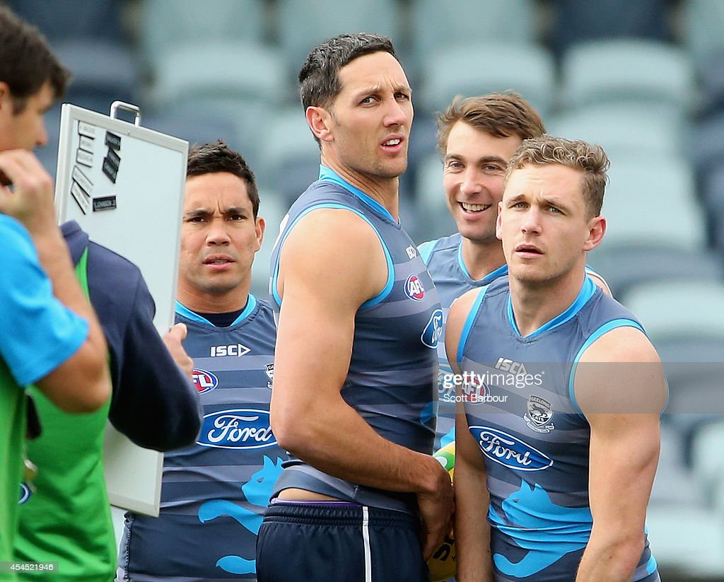 Mathew Stokes, Harry Taylor, Corey Enright and <a gi-track='captionPersonalityLinkClicked' href=/galleries/search?phrase=Joel+Selwood&family=editorial&specificpeople=4521436 ng-click='$event.stopPropagation()'>Joel Selwood</a> look on during a Geelong Cats AFL training session at Simonds Stadium on September 3, 2014 in Geelong, Australia.