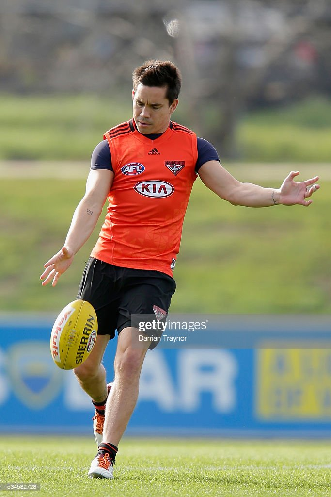 Mathew Stokes kicks the ball during an Essendon Bombers Training session at True Value Solar Centre on May 27, 2016 in Melbourne, Australia.
