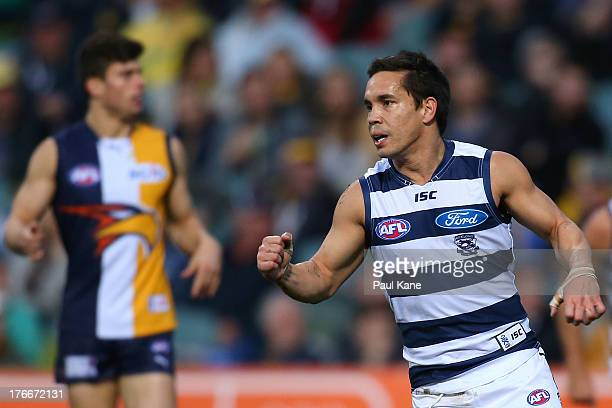 Mathew Stokes of the Cats celebrates a goal during the round 21 AFL match between the West Coast Eagles and the Geelong Cats at Patersons Stadium on...