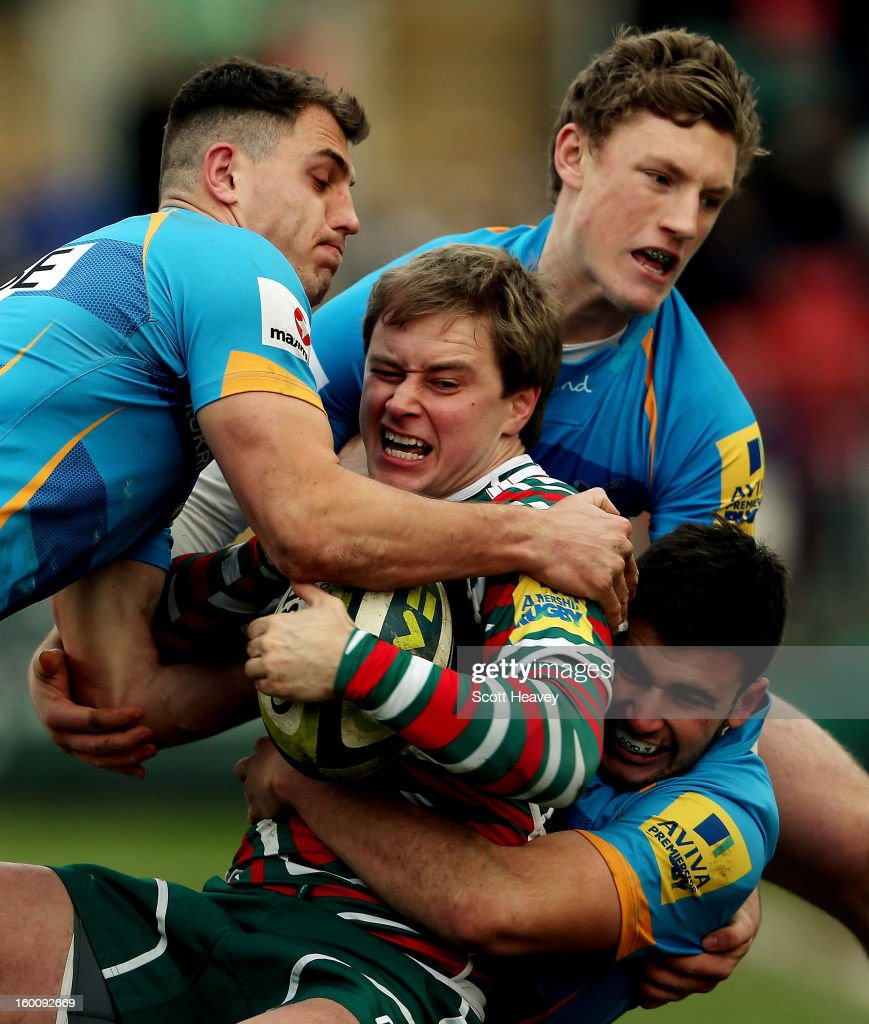 <a gi-track='captionPersonalityLinkClicked' href=/galleries/search?phrase=Mathew+Tait&family=editorial&specificpeople=214771 ng-click='$event.stopPropagation()'>Mathew Tait</a> of Leicester Tigers in action during the LV=Cup match between Leicetser Tigers and London Wasps at Welford Road on January 26, 2013 in Leicester, England.