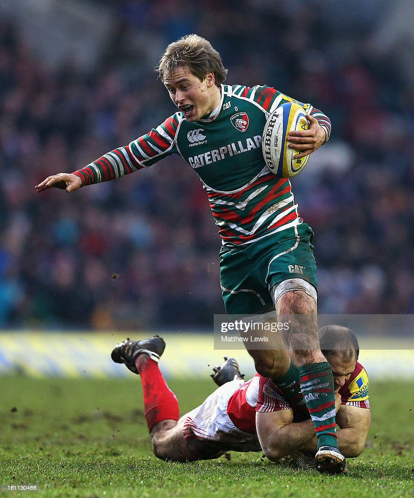 <a gi-track='captionPersonalityLinkClicked' href=/galleries/search?phrase=Mathew+Tait&family=editorial&specificpeople=214771 ng-click='$event.stopPropagation()'>Mathew Tait</a> of Leicester tigers is tackled by <a gi-track='captionPersonalityLinkClicked' href=/galleries/search?phrase=Gordon+Ross&family=editorial&specificpeople=215054 ng-click='$event.stopPropagation()'>Gordon Ross</a> of london Welsh during the Aviva Premiership match between Leicester Tigers and London Welsh at Welford Road on February 9, 2013 in Leicester, England.