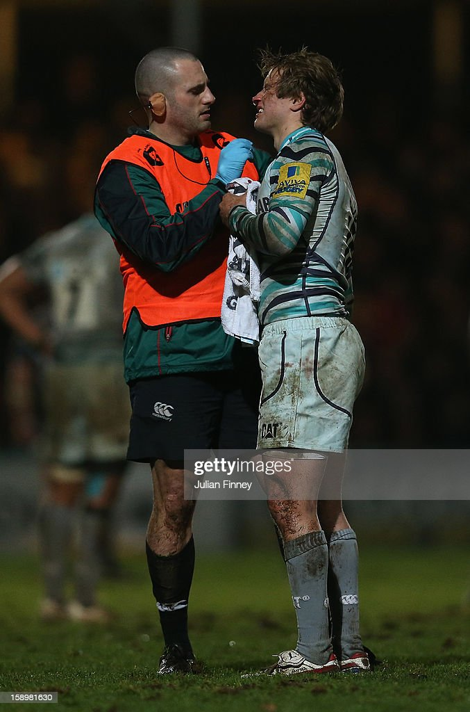 <a gi-track='captionPersonalityLinkClicked' href=/galleries/search?phrase=Mathew+Tait&family=editorial&specificpeople=214771 ng-click='$event.stopPropagation()'>Mathew Tait</a> of Leicester Tigers receives treatment after a boot to the face during the Aviva Premiership match between Worcester Warriors and Leicester Tigers at Sixways Stadium on January 4, 2013 in Worcester, England.