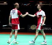 Mathian Boe and Carsten Mogensen of Denmark congratulate each other after winning the Men's Doubles Final against Berry Angriawan and Ricky Karanda...
