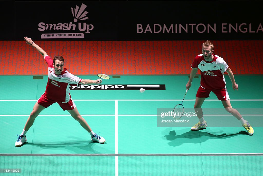 Mathian Boe (L) and Carsten Mogensen (R) of Denmark in action during the Men's Doubles Final against Berry Angriawan and Ricky Karanda Suwardi of Indonesia during Day 6 of the London Badminton Grand Prix at The Copper Box on October 6, 2013 in London, England.