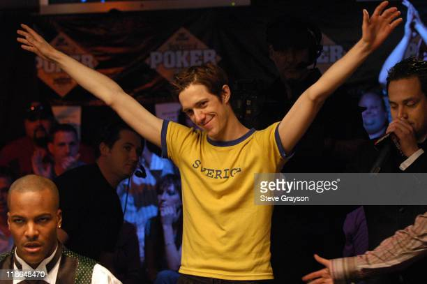 Mathias Anderson raises his arms after he was eliminated during final round of the 2004 World Series of Poker at Binion's Horseshoe Club and Casino...