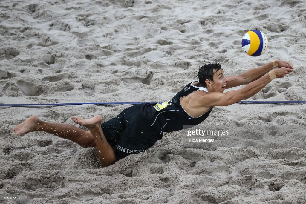Mathias Berntsen of Norway in action during the Men's Round of 01 match against Evandro Gonalves Oliveira Junior and Andre Loyola Stein of Brazil at Olympic Park during day two of the FIVB Beach Volleyball Rio Grand Slam, on May 19, 2017 in Rio de Janeiro, Brazil.