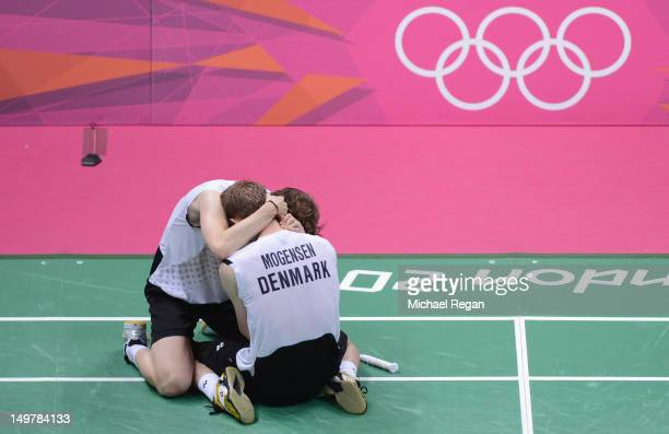 Mathias Boe and Carsten Mogensen of Denmark celebrate victory in their Men's Doubles Badminton Semi Final match against Yong Dae Lee and Jae Sung...