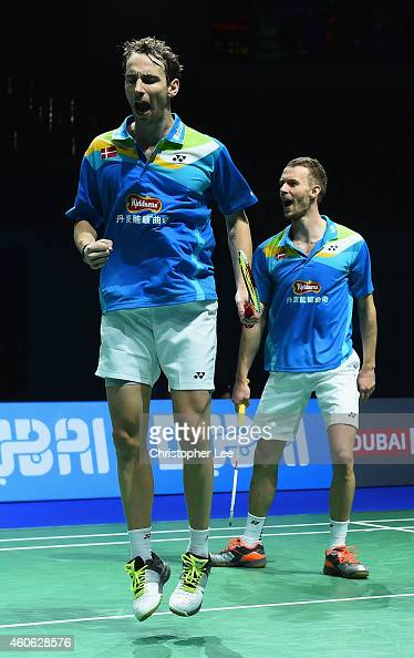 Mathias Boe and Carsten Mogensen of Denmark celebrate winning a game against Hiroyuki Endo and Kenichi Hayakawa of Japan in the Mens Doubles during...