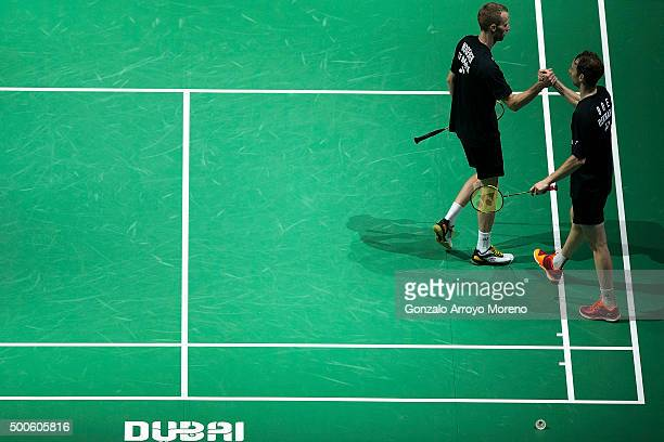 Mathias Boe and Carsten Mogensen of Denmark celebrates their victory in their men's doubles match against Mads Conrad Petersen and Mads Pieler...