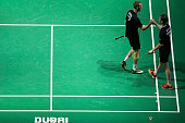 Mathias Boe and Carsten Mogensen of Denmark celebrates their victory in the men's doubles match against Mads Conrad Petersen and Mads Pieler Kolding...