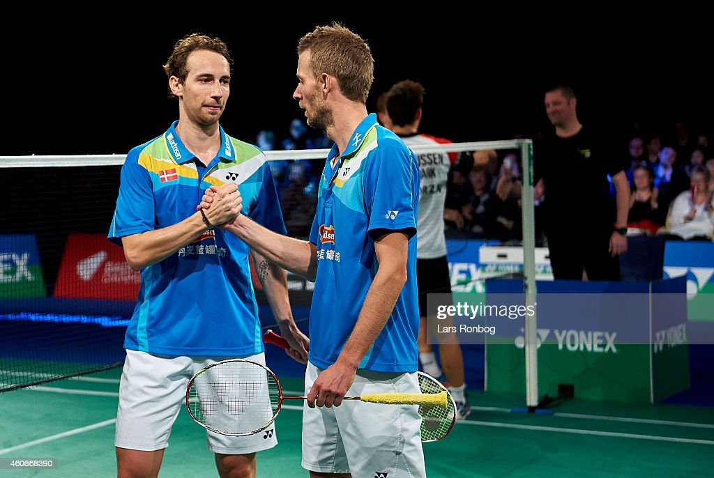 <a gi-track='captionPersonalityLinkClicked' href=/galleries/search?phrase=Mathias+Boe&family=editorial&specificpeople=651077 ng-click='$event.stopPropagation()'>Mathias Boe</a> and <a gi-track='captionPersonalityLinkClicked' href=/galleries/search?phrase=Carsten+Mogensen&family=editorial&specificpeople=651076 ng-click='$event.stopPropagation()'>Carsten Mogensen</a> (blue) of Denmark celebrating their victory against Anders Skaarup Rasmussen and Mads Conrad of Denmark during the Mens Double Final during the Yonex Copenhagen Masters Badminton Finals at Falkonesalen on December 28, 2014 in Copenhagen, Denmark.