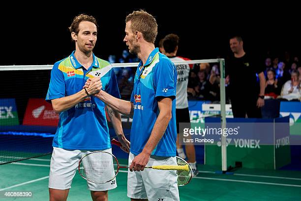Mathias Boe and Carsten Mogensen of Denmark celebrating their victory against Anders Skaarup Rasmussen and Mads Conrad of Denmark during the Mens...
