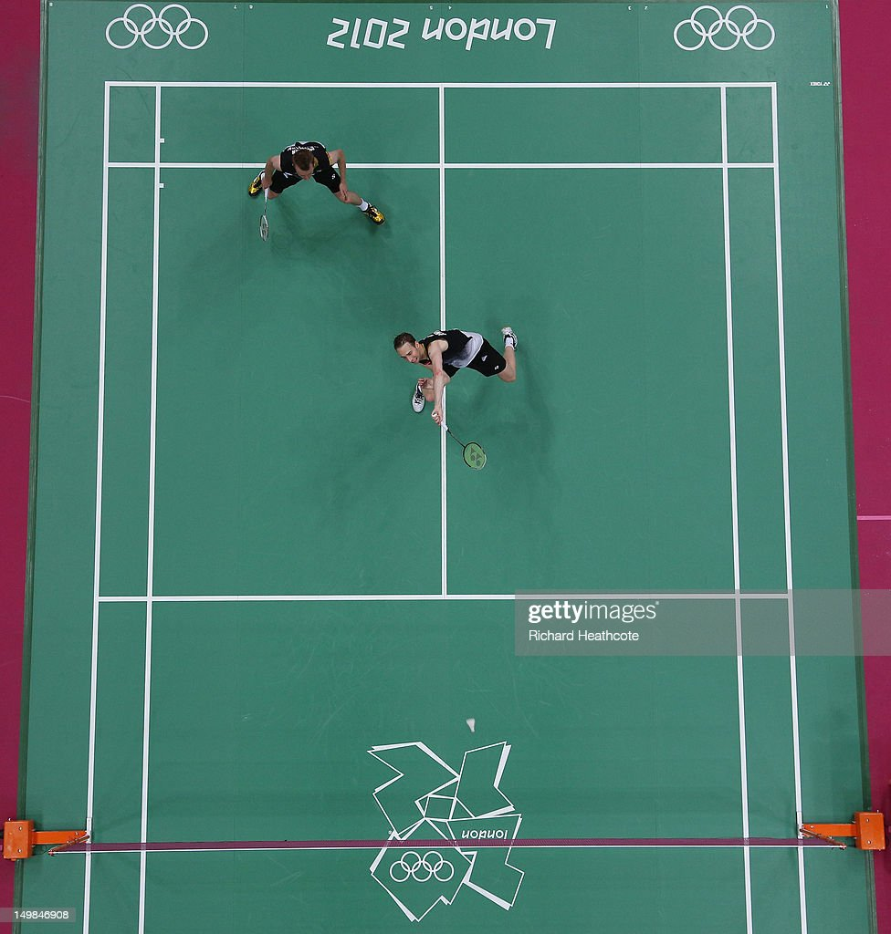Mathias Boe (R) and Carsten Mogensen of Denmark compete against Yun Cai and Haifeng Fu of China in their Men's Doubles Badminton Gold Medal match on Day 9 of the London 2012 Olympic Games at Wembley Arena on August 5, 2012 in London, England.