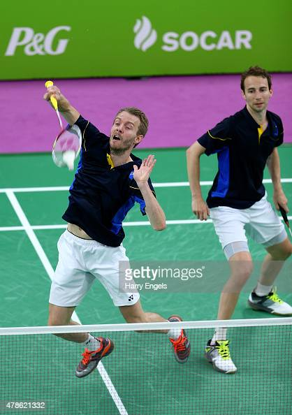 Mathias Boe and Carsten Mogensen of Denmark compete in the Badminton Men's Doubles Semifinal match against Raphael Beck and Andreas Heinz of Germany...