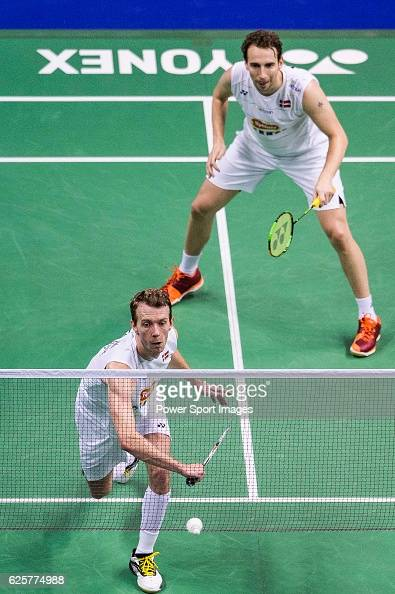 Mathias Boe and Carsten Mogensen of Denmark competes against Ong Yew Sin and Teo Ee Yi of Malaysia during their Men's Doubles QuarterFinal of...