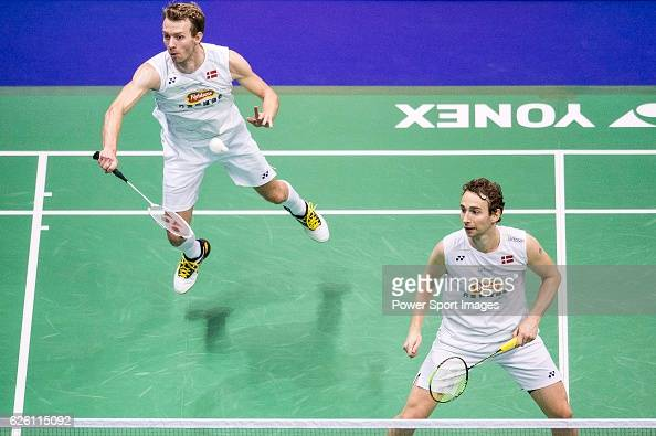 Mathias Boe and Carsten Mogensen of Denmark competes against Takeshi Kamura and Keigo Sonoda of Japan during their Men's Doubles Final of...