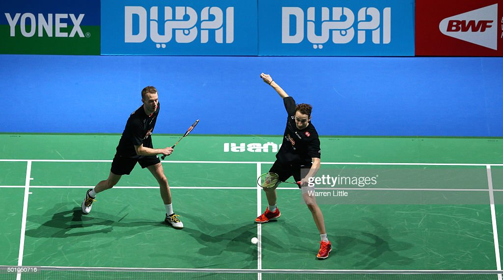 <a gi-track='captionPersonalityLinkClicked' href=/galleries/search?phrase=Mathias+Boe&family=editorial&specificpeople=651077 ng-click='$event.stopPropagation()'>Mathias Boe</a> and <a gi-track='captionPersonalityLinkClicked' href=/galleries/search?phrase=Carsten+Mogensen&family=editorial&specificpeople=651076 ng-click='$event.stopPropagation()'>Carsten Mogensen</a> of Denmark in action against Biao Chai and Wei Hong of China in the semi final of the Men's Doubles match during day four of the BWF Dubai World Superseries 2015 Finals at the Hamdan Sports Complex on December 12, 2015 in Dubai, United Arab Emirates.