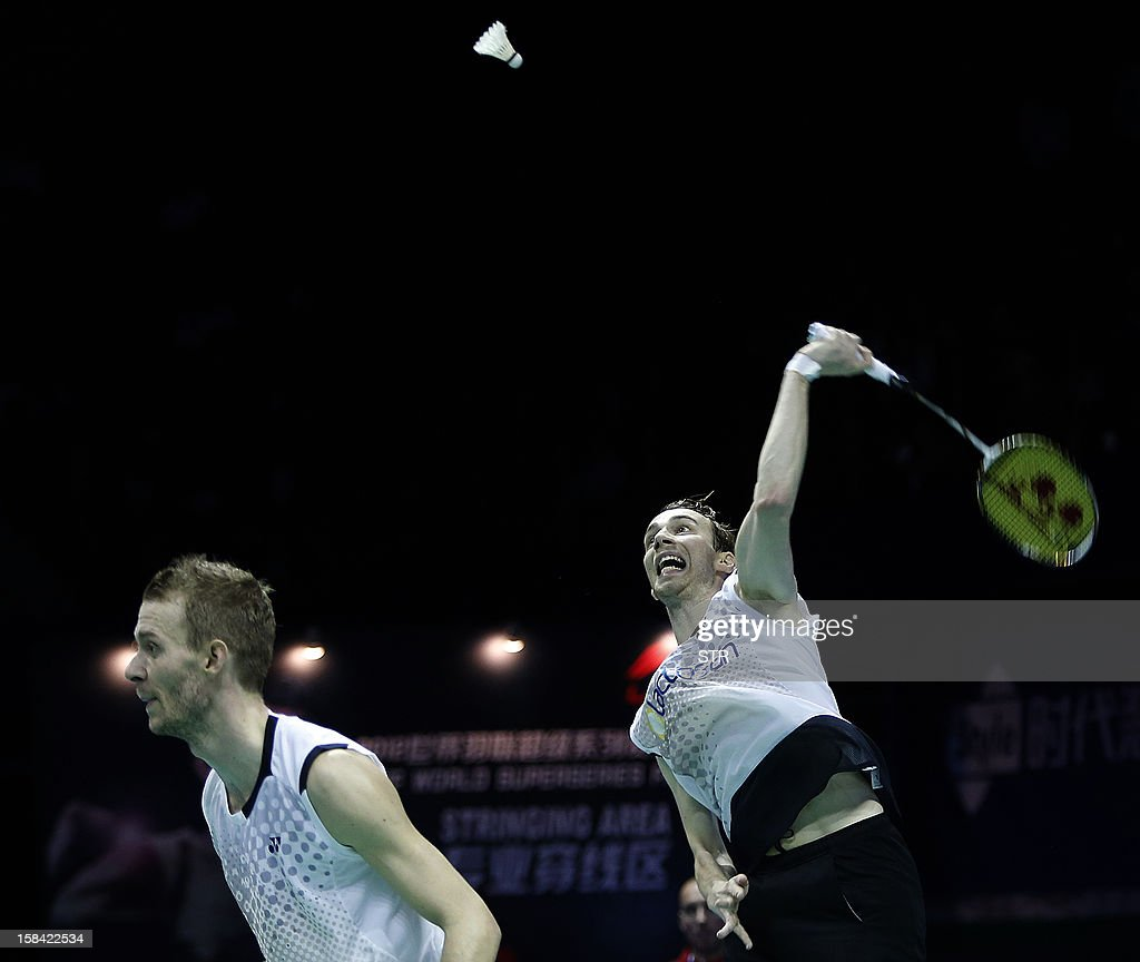Mathias Boe and Carsten Mogensen (L) of Denmark in action against Hiroyuki Endo and Kenichi Hayakawa of Japan in the men's doubles final match of the 2012 BWF Superseries Finals in Shenzhen, south China's Guangdong province on December 16, 2012. Boe and Mogensen beat Endo and Hayakawa 21-17, 21-19 for the title.