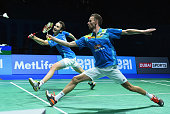 Mathias Boe and Carsten Mogensen of Denmark in action against Hiroyuki Endo and Kenichi Hayakawa of Japan in the Mens Doubles during day two of the...