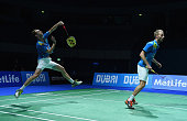 Mathias Boe and Carsten Mogensen of Denmark in action against Lee Yong Dae and Yoo Yeon Seong of Korea in the Mens Double Semi Final during the BWF...