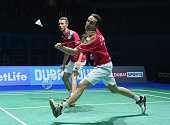 Mathias Boe and Carsten Mogensen of Denmark in action against Liu Xiaolong and Qiu Zihan of China in the Mens Doubles during the BWF Destination...