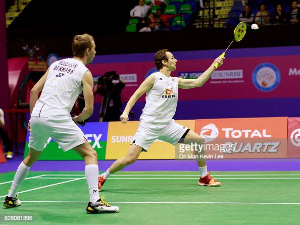 Mathias Boe and Carsten Mogensen of Denmark in action against Takeshi Kamura and Keigo Sonoda of Japan during the Men's Doubles Final on day 6 of the...